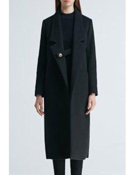 Lapel Longline Wool Blend Coat by Bootyjeans