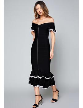Adele Ruffled Midi Dress by Bebe