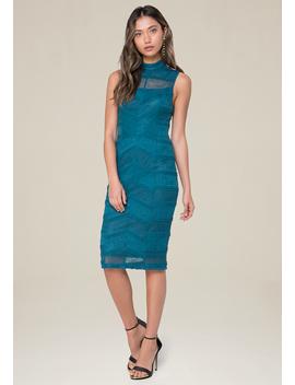 Lace Illusion Yoke Dress by Bebe