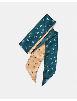 Floral Bow Skinny Scarf by Coach