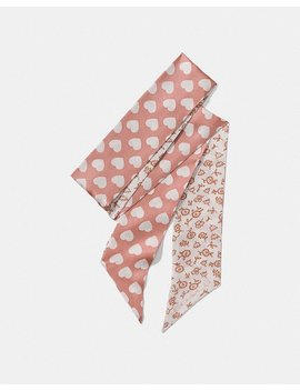 Love Floral Heart Reversible Skinny Scarf by Coach