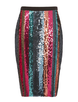 Samia Sequin Striped Pencil Skirt by Tanya Taylor