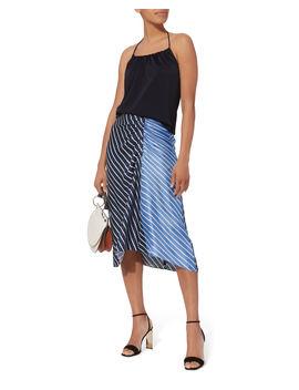 Delphina Striped Midi Skirt by Tibi