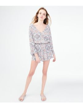 Long Sleeve Floral Wrap Front Romper by Aeropostale