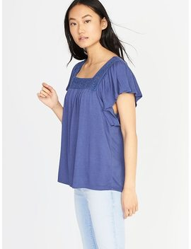 Crochet Lace Square Neck Top For Women by Old Navy