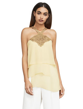 Beverly Embroidered Tulle Trimmed Top by Bcbgmaxazria