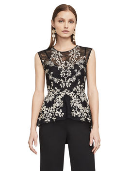 Jaxie Embroidered Lace Peplum Top by Bcbgmaxazria