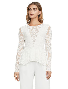 Colleen Baroque Burnout Peplum Top by Bcbgmaxazria