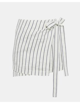 Striped Linen Wrap Tie Skirt by Theory