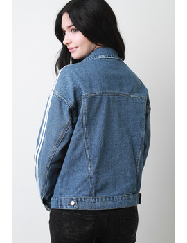 Vintage Stripe Sleeves Denim Jacket by Urbanog