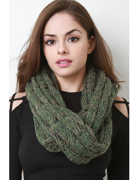 Multi Tone Cable Knit Infinity Scarf by Urbanog
