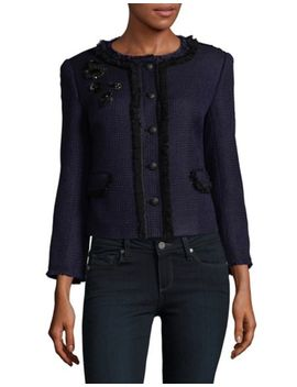 Spring Windowpane Tweed Jacket by Vince Camuto