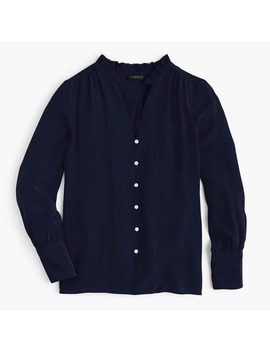 Silk Ruffle Neck Blouse by J.Crew
