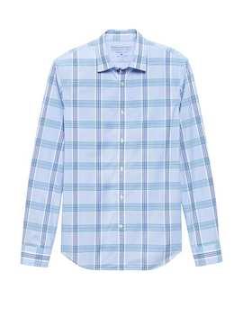 Grant Slim Fit Luxe Poplin Plaid Shirt by Banana Repbulic