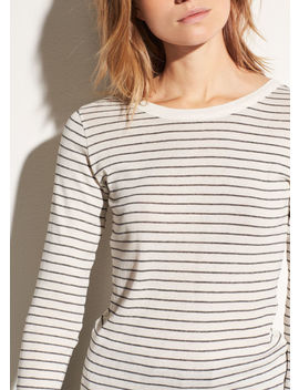 Pinstriped Pima Cotton Shirttail Top by Vince