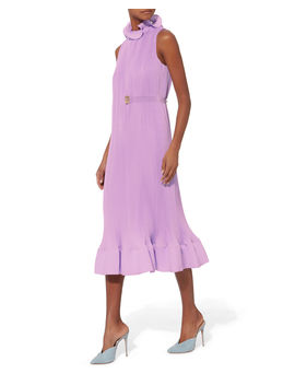 Pleated Belted Dress by Tibi