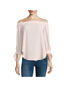 T.D.C 3.4 Sleeve Off Shoulder Bow Sleeve Top by Tdc