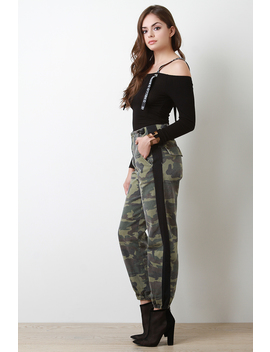 Side Stripe Camouflage Print Pants by Urbanog