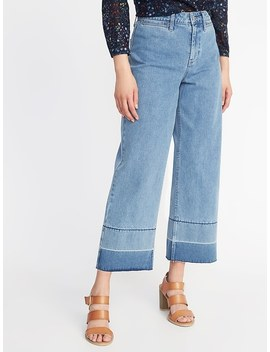 High Rise Wide Leg Raw Edge Jeans For Women by Old Navy