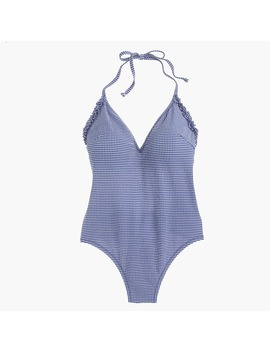 Ruffle Halter One Piece Swimsuit In Tiny Gingham by J.Crew
