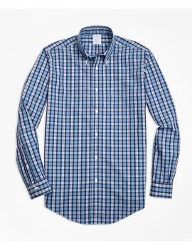Non Iron Regent Fit Heathered Multi Plaid Sport Shirt by Brooks Brothers