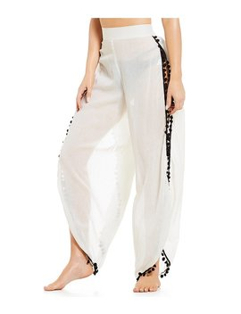 Gb Pom Pom Palazzo Pant Swimsuit Cover Up by Gb