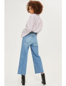 Petite Mid Blue Cropped Wide Leg Jeans by Topshop