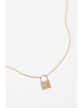 14k Diamond Padlock Pendant by Free People