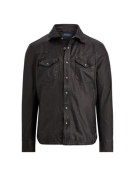 Leather Western Overshirt by Ralph Lauren