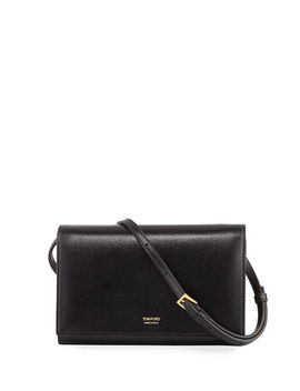 Saffiano Leather Wallet On Crossbody Strap by Tom Ford