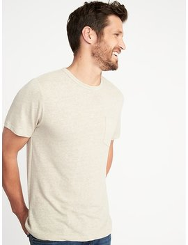 Linen Blend Crew Neck Pocket Tee For Men by Old Navy