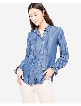 Chambray Ruffle Tie Neck Blouse by Ann Taylor