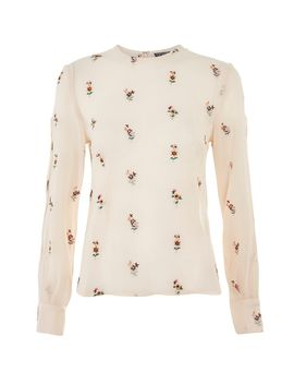 Embroidered Slash Sleeve Top by Topshop