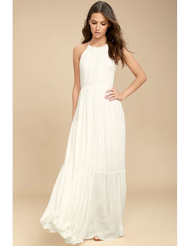 For Life White Embroidered Maxi Dress by Lulus