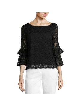 Liz Claiborne Scalloped Lace Top   Tall by Liz Claiborne