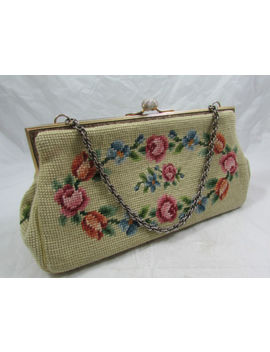 Vtg Floral Carpet Bag Tapestry Embroidered Needlepoint Petit Point Purse Handbag by Handmade