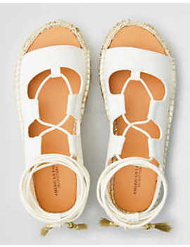 Aeo Open Toe Lace Up Flatform Espadrille Sandal by American Eagle Outfitters