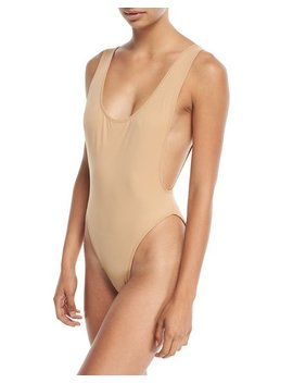 Marissa Scoop Neck High Cut Solid One Piece Swimsuit by Norma Kamali