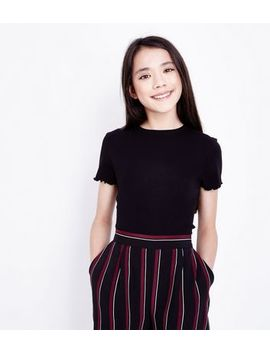 Teens Black Ribbed Frill Edge T Shirt by New Look