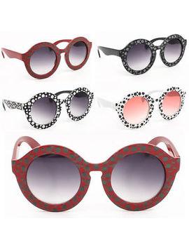 Womens Fashion Polka Dot Round Lens Bold Frame Ladies Sunglasses by Vtg Frames
