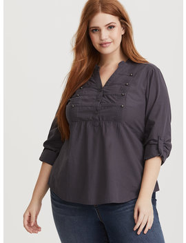 Dark Grey Military Poplin Blouse by Torrid