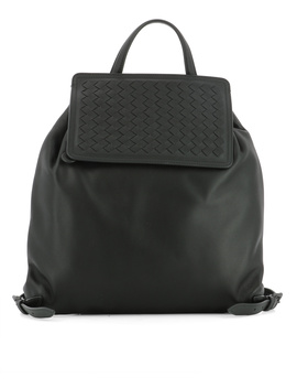 Bottega Veneta Women's  Black Leather Backpack by Bottega Veneta