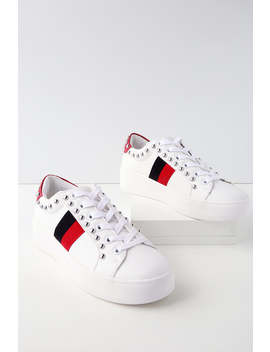Belle White Multi Leather Sneakers by Steve Madden