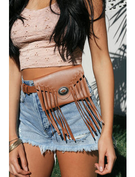 Rio Bravo Brown Fringe Belt Bag by Lulus