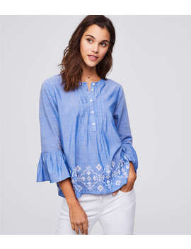 Embroidered Chambray Bell Sleeve Top by Loft