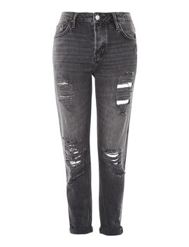 Petite Washed Black Ripped Hayden Jeans by Topshop