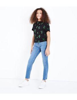 Teens Blue Raw Hem Skinny Jeans by New Look