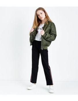 Teens Black Side Stripe Slim Leg Trousers by New Look
