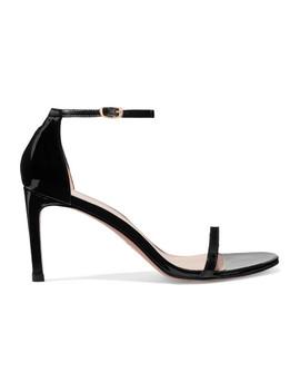 Nudist Patent Leather Sandals by Stuart Weitzman