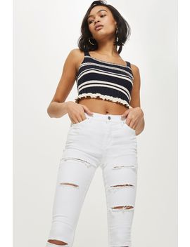 Moto White Super Ripped Leigh Jeans by Topshop